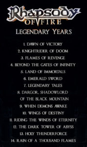 rhapsody of fire legendary years tracklist