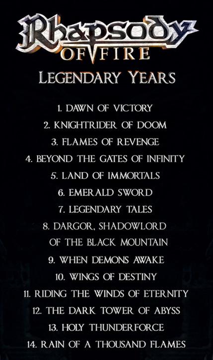 rhapsody of fire legendary years tracklist